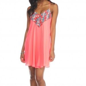 Neon Coral Embroidered Slip Dress